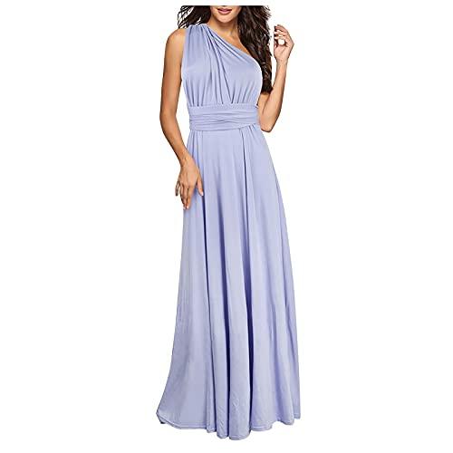 Liably Vestido de verano para mujer, sin mangas, de un solo color, con encaje, cintura alta, estilo informal, de noche, de fiesta, azul claro, S