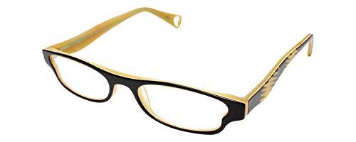 Betsey Johnson Flash Designer Reading Glasses in Black & Yellow ; +2.50