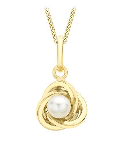 Carissima Gold Conjunto de Collar de Oro de 9K y Colgante con Perla para Mujer 46 cm