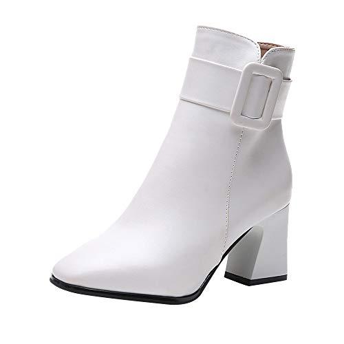 Logobeing Zapatos Mujer Tacones Altos Botines Mujer Tacon Botas de Mujer Casual Plataforma Moda Botas de Tobillo de Mujer Punta Estrecha Sexy Botas de Altas (Blanco, 39)