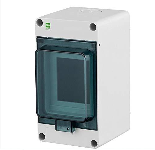 Naka24 Fe Kleinverteiler HERMETICA IP65 400V AC Feuchtraum Aufputz (3-Modulen 2201-01), Weiß - Transparent