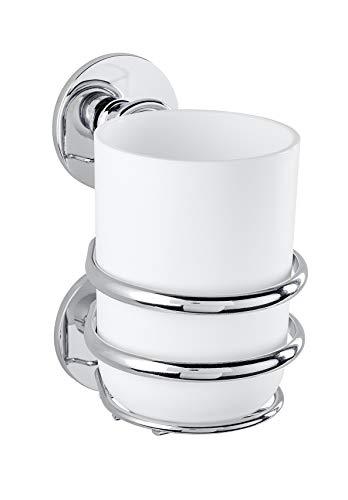 Wenko 22765100 Express-Loc Cali Zahnputzbecher-/ Zahnbürstenhalter, für Zahnbürste und Zahnpasta, Befestigen ohne bohren, Edelstahl rostfrei, 8 x 12 x 11 cm, Glänzend