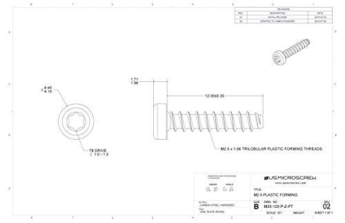 M2.5 X 12mm Plastic Thread Forming Screw Zinc Plated Steel Pan Head 6-Lobe Drive (100 Pcs) - M25-120-P-Z-PT