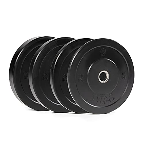 Titan Fitness 230 LB Set Black Economy Olympic Bumper Plates, Rubber with Steel Insert