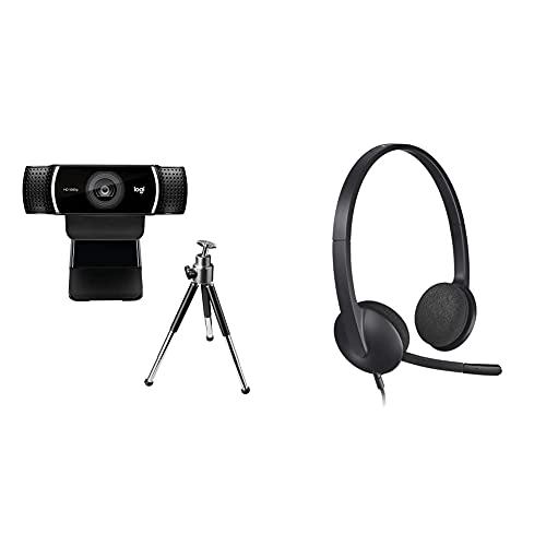 Logitech C922 Pro Stream Webcam, Full HD 1080p Streaming with Tripod (Black) + H340 Wired USB Business Headset, Digital Stereo Sound (Black)