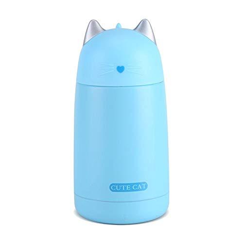 Thermobeker in de vorm van een kat, draagbaar, drinkfles, koffie, drank, roestvrij staal, voor reizen, sport voor kinderen, 330 ml (blauw)