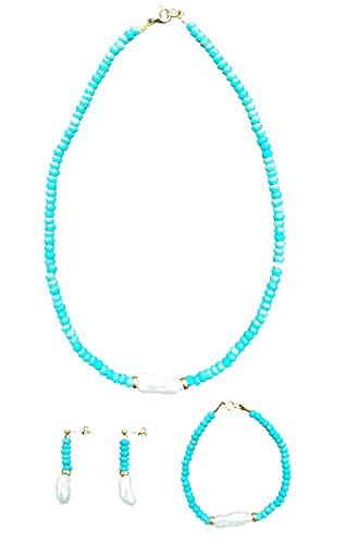 ByAriadna. Hecho a mano. Collar, pulsera y pendientes mujer en plata ley 925 con baño de oro, piedras naturales y perla barroca cultivada. Turquesa