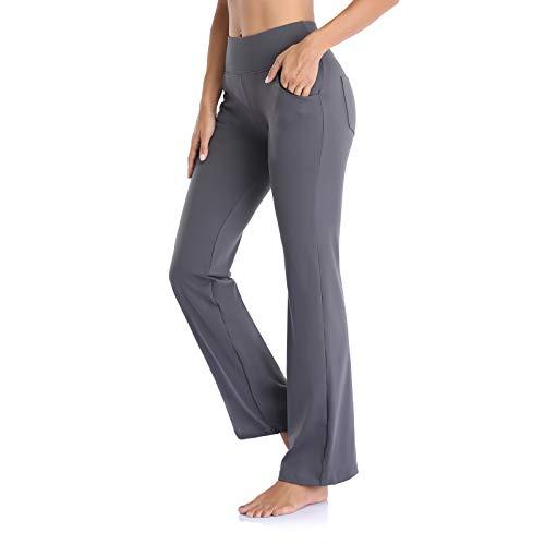 Vimbloom Pantalones de Yoga Bootcut para Mujer Largo Pata Anchos Pantalón de Piltes Cintura Alta Deportivos Leggins con Bolsillos para Yoga Fitness VI490 (Gris, L)