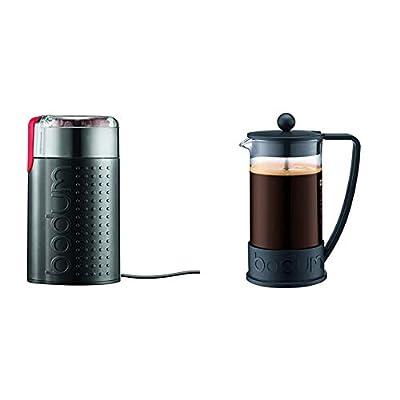 Bodum BISTRO Blade Grinder, Electric Blade Coffee Grinder, Black & Brazil French Press Coffee and Tea Maker, 34 Ounce, Black