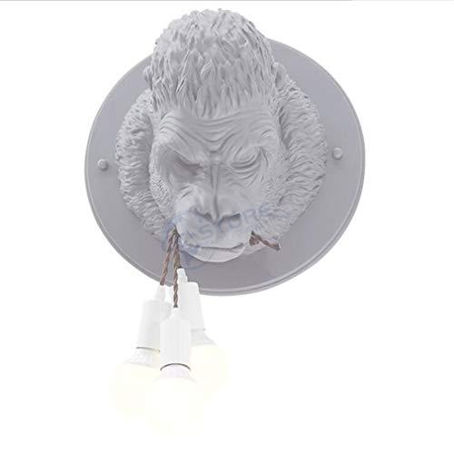 Personalidad orangután de la lámpara de pared/Sala de dormitorio de noche Corredor barra de la tienda Resina Diámetro Caliente Luz KTV Cuerpo de iluminación LED Decoración Lightin Ø41cm E27 × 3,Gris