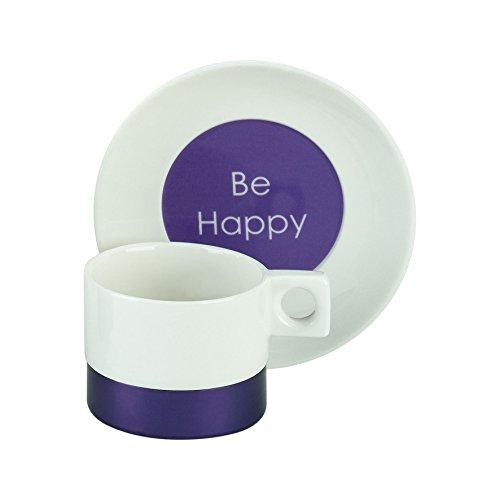 2 Tasses à expresso-ensemble de 2 tasses à expresso avec soucoupes en porcelaine fine, la collection metallica violet et le slogan «bE hAPPY» de tOGNANA