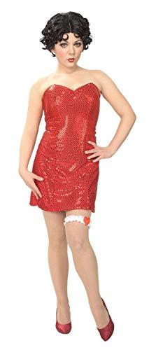 Horror-Shop Betty Boop Lentejuelas Mini Vestido con Peluca M 40/42