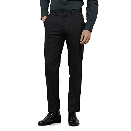 Kenneth Cole REACTION Men's Stretch Modern-Fit Flat-Front Pant, Black, 34x30