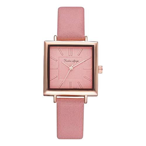 Reloj de cuarzo clásico analógico para mujer Reloj cuadrado simple con correa de cuero PU