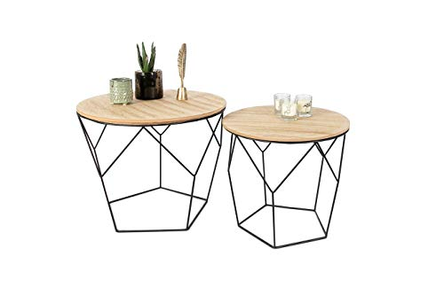 LIFA LIVING Set of 2 Side Tables for Living Room, Pre-assembled Geometric Contemporary Coffee Tables for Small Spaces, Metal & Removable Round Wooden Top, Bedroom Nesting End Bedside Tables, 20kg