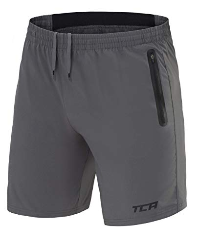 TCA Elite Tech Herren Trainingsshorts für Laufsport mit Reißverschlusstaschen - Asphalt, M