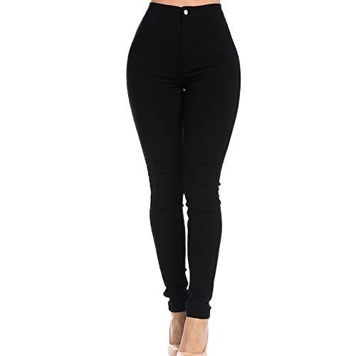 TWIFER Damen Mädchen Denim Jeans Multi Farben Lässige Jeans Hosen (XL, Schwarz)