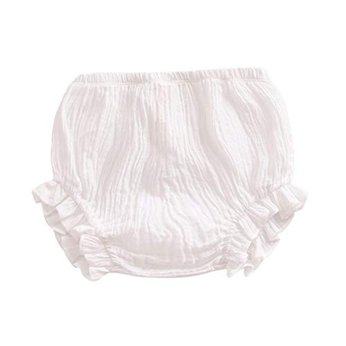 Newborn Toddler Baby Girls Kids Cotton Linen Bloomer Shorts Diaper Cover (White, 2-3 T)
