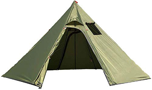 Ultralight 4 Person Tipi Hot Tent with Fire Retardant Stove Jack for Flue Pipes with 2 Doors