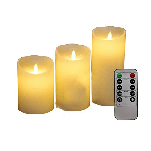 TUBC Battery Operated Candles Large Set of 3 Flameless Candles Battery Operated LED Pillar Real Wax Electric Candles with Remote Control Cycling 24 Hours Timer