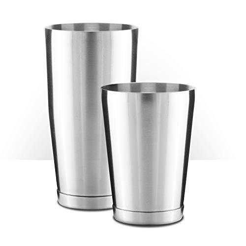 Piña Barware Stainless Steel Commercial Bar Boston Shaker Tin Set - 28oz. & 18oz. / Brushed Finish (1 Pair)
