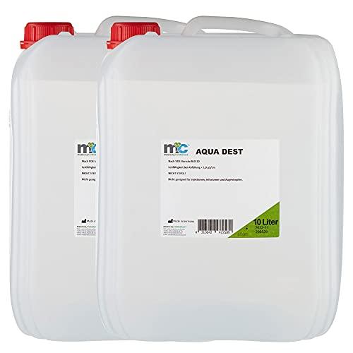 Aqua Dest Destilliertes Wasser - 2x 10 Liter Kanister, 20 Liter mikrofiltrietes Wasser