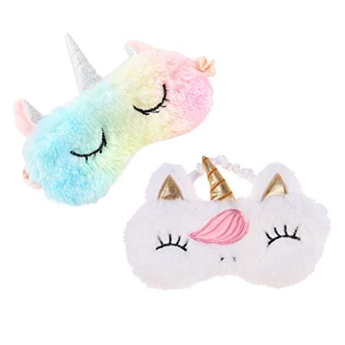 EXCEART 2 Piezas Funda Protectora de Ojos con Dibujo de Unicornio para Dormir de Noche Y Dormir con Los Ojos Vendados