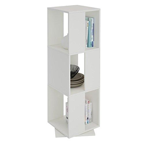 CARO-Möbel Drehregal KOPENHAGEN Bücherregal Standregal Dekoregal mit 3 Fächern in weiß