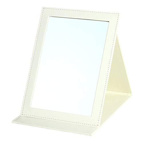 JYHY Espejo de maquillaje de la UE Espejo compacto portátil plegable con piel sintética acolchada Cove Camping Viaje (L(18 cm x 25 cm), color blanco