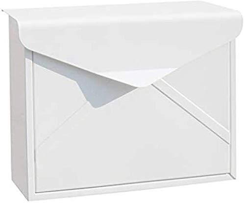 Post Box Wand befestigten, Vertikal-Wandhalterung Locking Außerhalb ES/Mediums Kapazität mit Deutscher Post/Modern Art / 2 Einzigartige Keys / (Color : White)