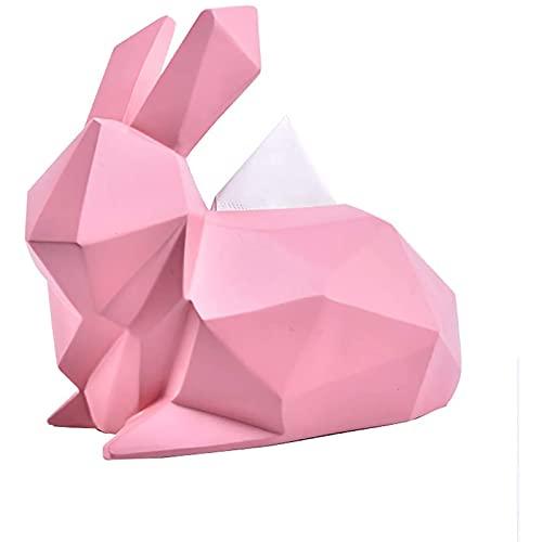 Hengqiyuan Esculturas Estatuas Moderno Abstracto Conejo Animal Tela Caja de Resina artesanía Sala de Estar decoración del hogar,Rosado,11 * 7 * 9.4in