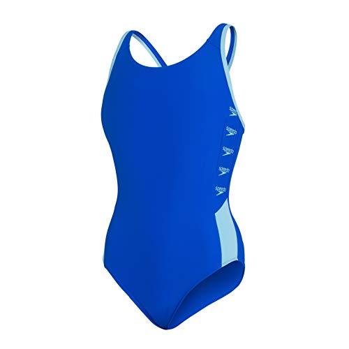 Speedo Boom Logo Splice Muscleback Traje de Baño de Una Pieza , Niñas, Azul (Blue Flame/Light Adriatic), 30 (11-12 Años)