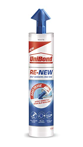 UniBond RE-NEW Cartridge, White Silicone Sealant for Sanitary Applications, One-Step Bathroom Sealant Renewal, Waterproof Kitchen & Bath Sealant with Triple Mould Resistance, 1 x 280 ml