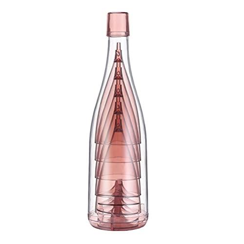 Asotagi - Bicchiere da vino trasparente portatile combinato con tazza alta famiglia, 1 bicchiere da vino combinato, colore: rosa