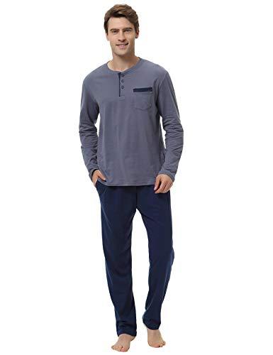 Aibrou 100% Algodón Pijamas Hombre Invierno Mangas Largas Pantalones Largo, Simple y Cómodo
