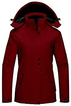 Wantdo Women s Winter Warm Padded Parka Coat with Removable Hood Wine Red L