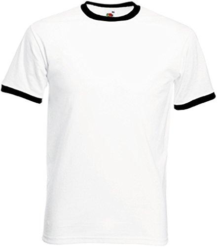 Fruit of the Loom Ringer T-Shirt, vers. Farben L,Weiß / Schwarz