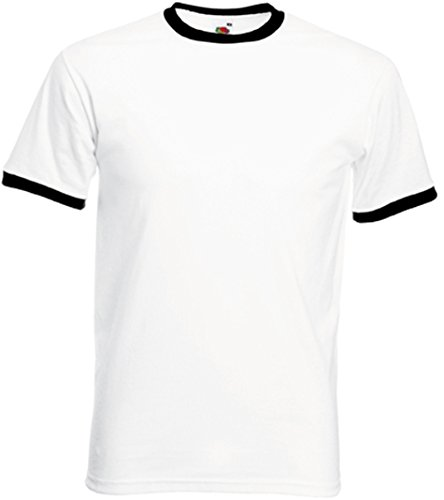 Fruit of the Loom Herren T-Shirt, Einfarbig Gr. XXXL, weiß / schwarz