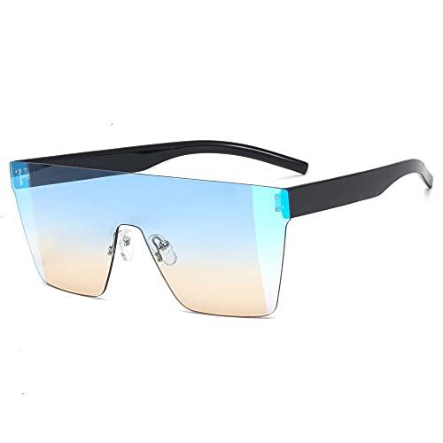 Gefüllte Gafas de Sol cuadradas de Gran tamaño para Mujer, sin Marco, en Forma de A, Parte Superior Plana, para Hombres y Mujeres, diseñador, Retro, UV400, Azul, marrón, Sombra