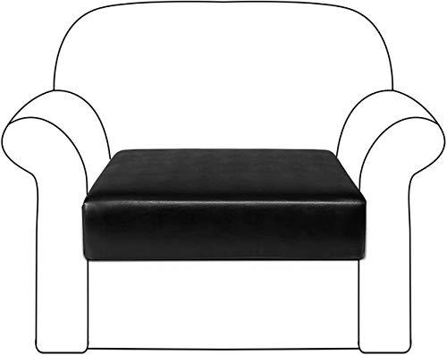 wide smile Sofakissenbezug aus hochelastischem PU-Leder, Sitzkissen, Stuhlkissen, Sofabezug, Möbelschutz für Sofa-Sitzkissen (1-Sitzer, schwarz)