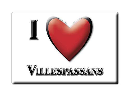 Enjoymagnets VILLESPASSANS (34) Souvenir IMANES DE Nevera Francia Languedoc Roussillon IMAN Fridge Magnet Corazon I Love