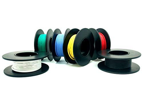 Elektronik Kabel set - 18 AWG Haken Draht-Kit Flexible Silikonkabel 600V Isolierdraht-hohe Temperaturbeständigkeit (6 verschiedene farbige 5M Spulen) (18AWG)
