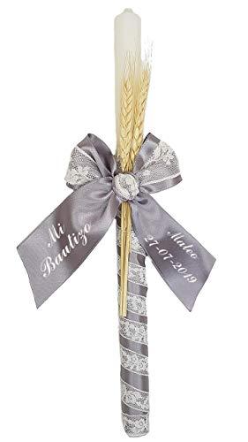 Vela o cirio para Bautizo de Cera Blanca Personalizada con Nombre y Fecha. Modelo París (Gris)