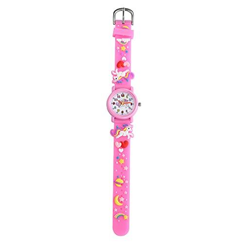 子供装飾ピンク腕時計プラスチックケース腕時計漫画ユニコーンパターン腕時計ファッション防水腕時計ギフトのための