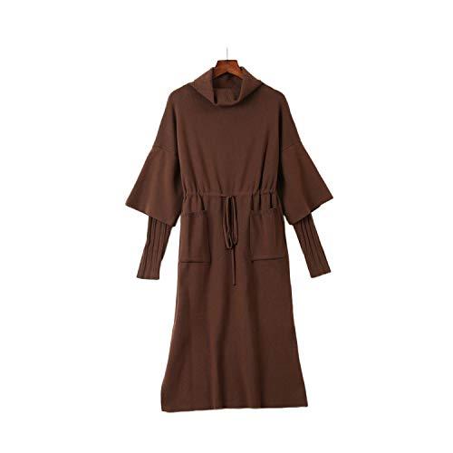 SHUCHANGLE taille afdeling Slim gebreide jurk trui over knie Heap kraag.