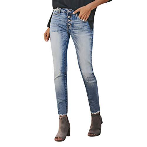 Vectry Jeans Damen Slim Fit Skinny Fit Jeans Jogger Push Up Ankle Straight Leg Mit LöChern Stretch Denim Relaxed Hose Aufnäher Hosen, Knopf Elastisch Bleistifthosen Jeanshosen(Hellblau,S)