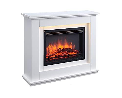 RICHEN Baldur caminetto elettrico - Caminetto autoportante Con riscaldamento, illuminazione a LED, effetto fiamma 3D e telecomando - Bianco