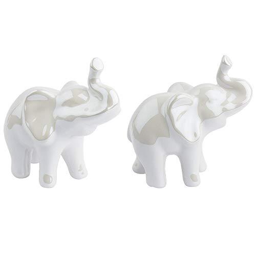 Deko-Figuren aus hochwertigem Keramik | Porzellan-Optik mit Perlmuttlack (Elefanten stehend | 9 cm hoch | 2 Stück)