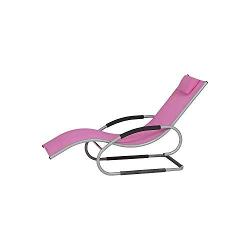 Nordje Relaxliege Risa für den Garten aus hochwertigem, lichtechtem Gardino®-Geflecht – Schwinliege - Schaukelliege (Gardino-Stoff, Pink)