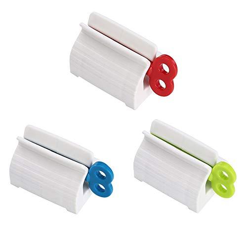 Exprimidor de Pasta de Dientes Rodante,3 Piezas Dispensador de Pasta de Dientes Exprimidor de Tubos para baño(Rojo/Verde/Azul)